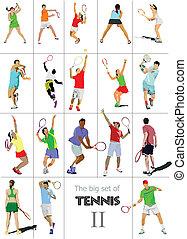 有色人種, ベクトル, illu, player., テニス