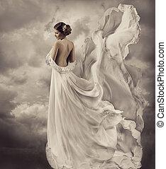 服, 吹く, ガウン, 芸術的, 白, 女性