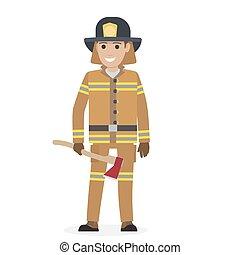 朗らかである, おの, 保護である, 消防士, スーツ