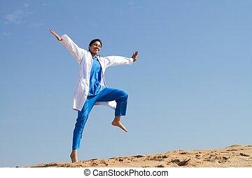 朗らかである, 看護婦, 跳躍, 浜