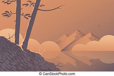 朝, 木, 風景, lake.