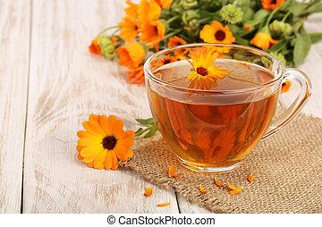 木製である, お茶, 背景, calendula, 新たに, 白い花