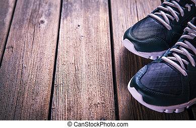 木製である, バックグラウンド。, 動くこと, スポーツの靴