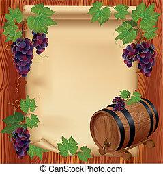 木製である, ブドウ, 板紙表紙, 背景, 樽