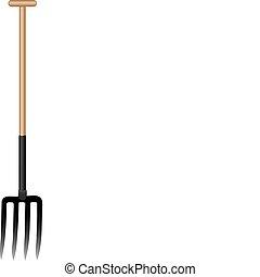 木製である, ベクトル, ハンドル, イラスト, 干し草用フォーク