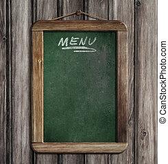 木製である, メニュー, 壁, 黒板, 緑, 掛かること, 年を取った