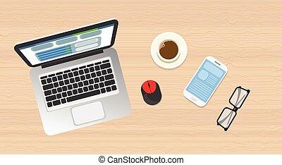 木製である, ラップトップ, 光景, 上, 角度, 電話, 仕事場, 机