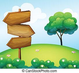 木製である, 丘, 矢, signage