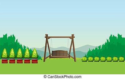 木製である, 庭の 椅子, イラスト, mock, の上, 掛かること