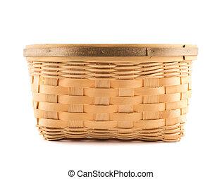 木製である, 枝編み細工, 上に, 隔離された, バスケット, 白