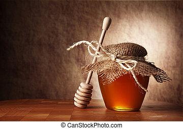 木製である, 蜂蜜, ポット, テーブル。, スティック