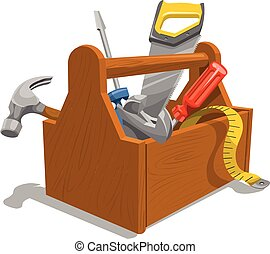 木製である, 道具箱, tools., ベクトル
