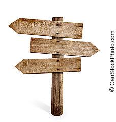 木製である, 道標, 隔離された, 印, 矢, ポスト, ∥あるいは∥, 道