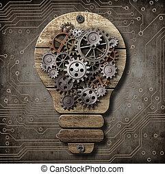 木製である, concept., 考え, コグ, ランプ, gears.