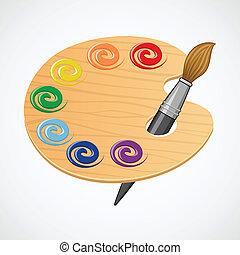 木製である, palette., 芸術