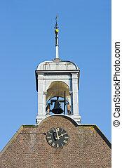 木製である, windvane, 時計, 鐘楼, 鐘