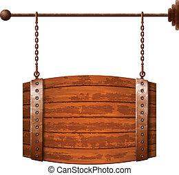 木製の樽, 看板, 形づくられた