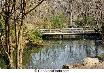 木製の橋, 日本の庭