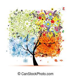 木, あなたの, 春, winter., 季節, -, 秋, 夏, 芸術, 4, デザイン, 美しい
