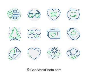 木, アイコン, ホリデー, set., included, 愛, signs., 女の子, すてきである, アイコン, ベクトル, クリスマス, 手紙