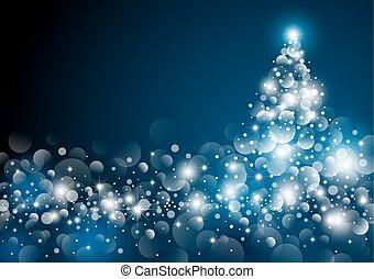 木, イラスト, ベクトル, デザイン, 夜, クリスマス