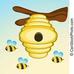 木, イラスト, 蜂, ベクトル, ミツバチの巣箱, branch.