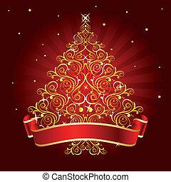 木, クリスマス, 赤