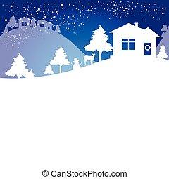 木, クリスマス, 青, 白