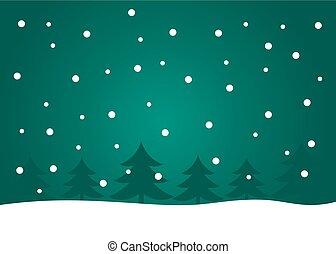 木, クリスマス, 風景, 夜