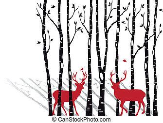 木, クリスマス, deers, シラカバ