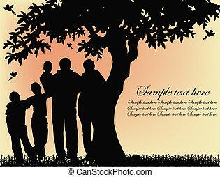 木, シルエット, 人々