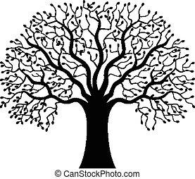 木, シルエット, 漫画
