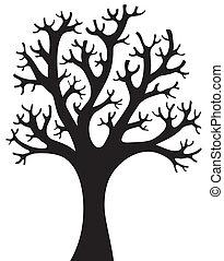木, シルエット, 4, 形づくられた
