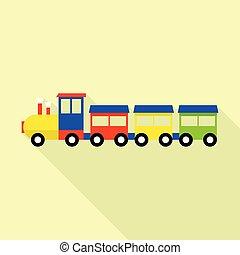 木, スタイル, おもちゃ, 平ら, 列車, アイコン