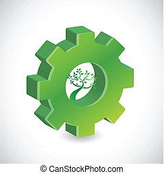 木, デザイン, ギヤ, イラスト, 印