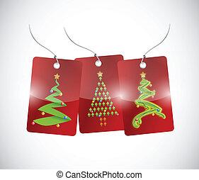 木, デザイン, クリスマス, イラスト, タグ