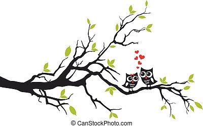 木, ベクトル, 愛, フクロウ