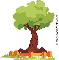 木, ベクトル, 緑, illustration., 平ら