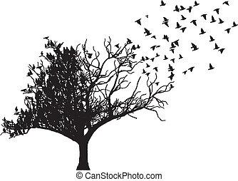 木, ベクトル, 芸術, 鳥