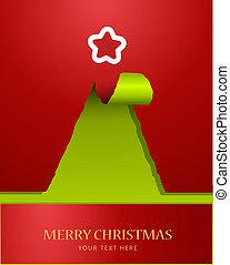 木, ペーパー, 引き裂かれる, クリスマス, 上, 星