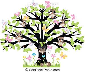 木, 動物, たくさん