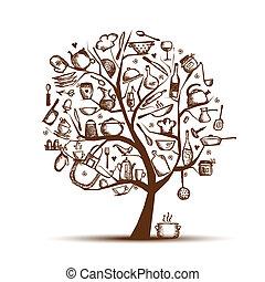 木, 図画, あなたの, 芸術, 道具, スケッチ, デザイン, 台所