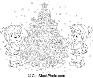 木, 子供, クリスマス