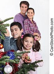 木, 子供, 親, 飾り付ける, クリスマス, 幸せ