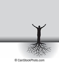 木, 定着する, 人