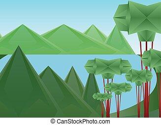 木, 山, デザイン, 湖, polygonal, ベクトル, 風景