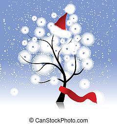 木, 帽子, クリスマス, 冬