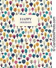 木。, 幸せ, グリーティングカード, ホリデー