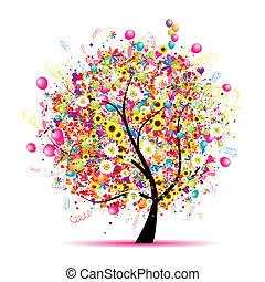 木, 幸せ, 休日, 面白い, 風船
