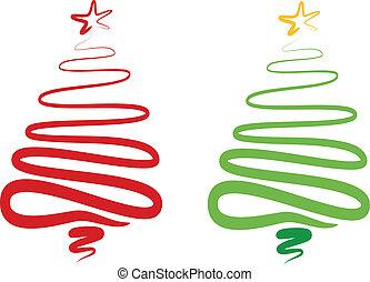 木, 抽象的, ベクトル, クリスマス